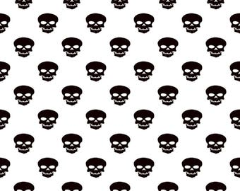 Skull Fabric - Black Skull Fabric - Black and White Skulls - Skeleton Fabric - Black Polka Dots - Fabric with Skulls - White Skull Fabric -