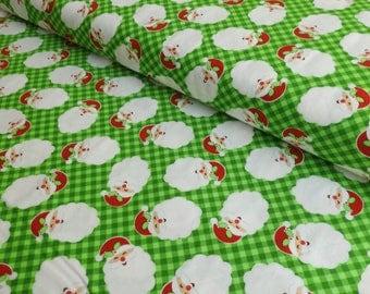 Santa Fabric - Christmas Fabric - Holiday Fabric - Christmas Quilting Cotton - Santa Claus Fabric - Santa Cotton - Green Christmas Fabric