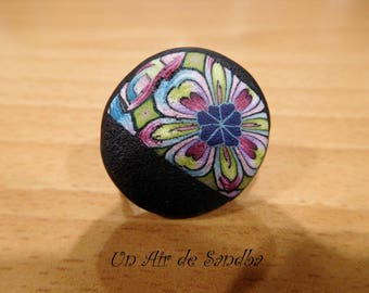 "Round ring adjustable ""Flora"", polymer clay."