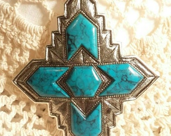 Sarah Coventry faux turquoise and silver brooch