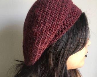Burgundy crochet baret