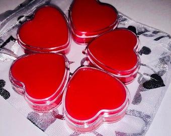 Heart lip balm/ lip balm/ vegan lip balm/ organic lip balm/ Valentines Day/ gift for her/ gift/ tinted lip balm/ lip balms/ hearts/ gifts