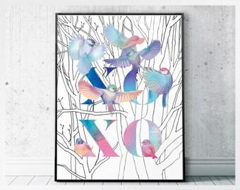 Xo xo print birds wall art - romantic art print - hugs and kisses love art poster printable- friend print gift- xoxo art- romantic printable