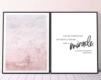 Set of 2 Minimalist Print, Printable Affiche Quote Blush Print, Diptych Abstract Blush and Poetry Poster, Literature Quote 2 Piece Wall Art