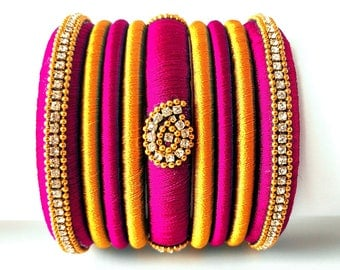 Pink Grand Wedding Silk Thread Bangle Set with Jhumka Earrings