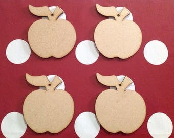 10 x Wooden Apple Craft Shapes
