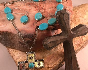 Silver Cross Turquoise Jewelry set