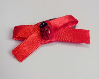 Red Bow Barrette decorated with a ladybug