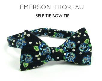 Navy Blue Floral Bow Tie/Self Tie Green White Metallic Flower Print Bowtie Self Tie Freestyle Adjustable Boys Mens Extra Long Spring Wedding