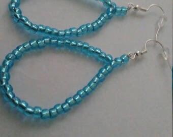 Medium Size Light Blue Hoop Earrings
