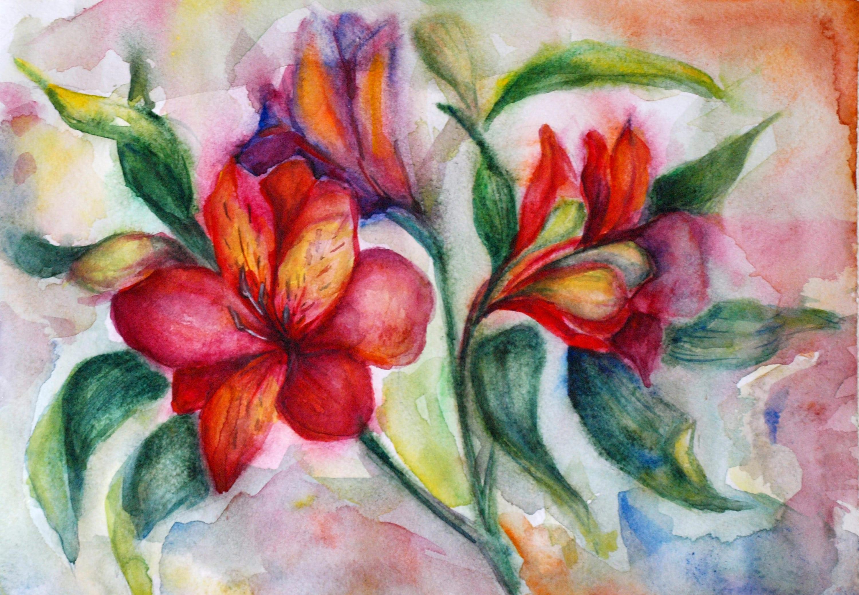 Three flower art three watercolor flowers bright watercolor for Bright flower painting