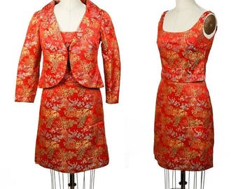 ON SALE 1960s Suit Set // Red Chinese Chinoiserie Brocade Short Sleeve Top Mini Skirt and Jacket Suit