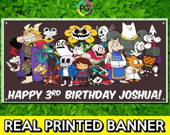 Undertale Printed Happy Birthday Vinyl Banner Personalized Custom Name