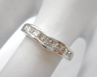 Diamond Ring, Diamond Band, Diamond Rings, Gold Rings, Wedding Band, 14k White Gold .25 CTW Princess Cut Diamond Wedding Band Ring #1928