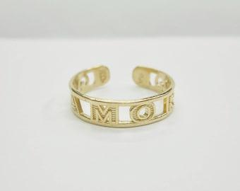 Toe Ring, Gold Toe Ring, Vintage Toe Ring, Amor Toe Ring, Genuine 10K Yellow Gold AMOR Toe Ring #4199