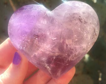 Amethyst Heart / Third Eye Opening / Calming / Reiki Charged + FREE Crystal Gift