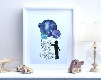 Show you the World Galaxy balloon fine art print