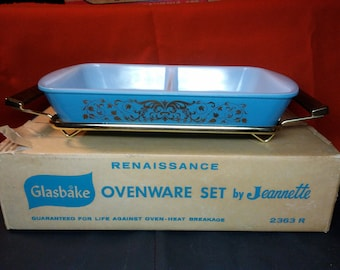 NOS Glasbake Renaissance divided utility dish