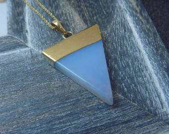 Opal triangle necklace