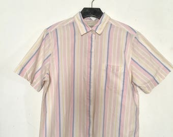 90s pastel striped button up