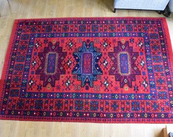 Grand tapis de laine tissée main