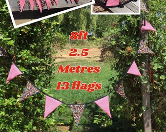 8ft Double sided bunting , red and black bunting