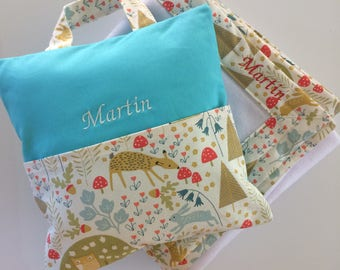 cushion and blanket for Maternelle - flamands roses