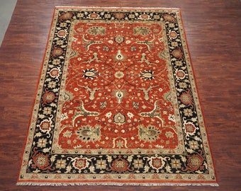 antiqued 9x12 vegu0027 dye mahal sultanabad handknotted oriental wool area rug 9