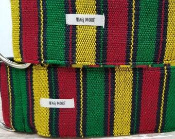 """Rasta Dog Collar - One Love Dog Collar - Rastafari - Jamaican Style - Striped Dog Collar - Dog Collar - Rasta Dog Collar """" The Marley"""""""