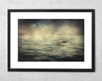 Old Man And The Sea - Fine Art Photography - Surreal Art - Fisherman Gift - Seascape Art Print - Nautical Decor - Sailing Gift - Home Decor
