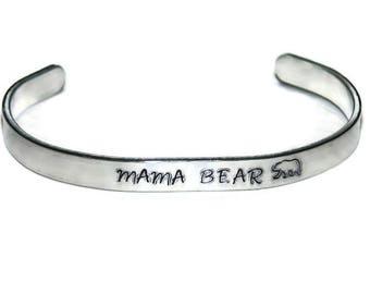 Mama Bear Cuff Bracelet; Hand Stamped Mama Bear Cuff Bracelet; Hand Stamped Cuff Bracelet; Mother's Day Gift