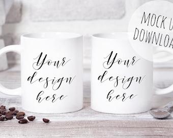 Multiple Mug Mockup, Coffee Mug Styled Mock Up Photo, Two Mugs Stock Photo, Photoshop Mug Template Photography