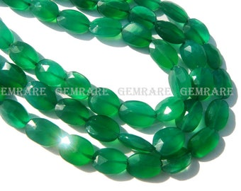 Green Onyx Faceted Oval, Quality AAA, 7x9 to 8x10 mm, 36 cm, 37 pieces, GR-091/1, Semiprecious Gemstone beads, craft Supplies for Jewelry