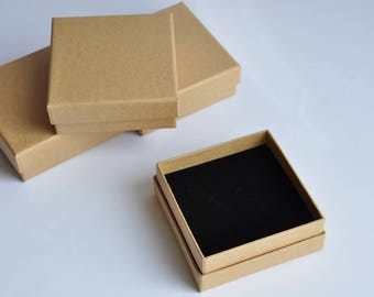 A set of 6 boxes - 8cm x 8cm square Brown Kraft Jewelry Gift Boxes-filled with velvet covered foam-wedding-birthday- anniversary