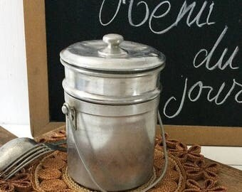 SUMMER SALES French vintage Aluminum canister 1950's, old box 2 compartments,vintage picnic box,camping box with lid and handle aluminum rou