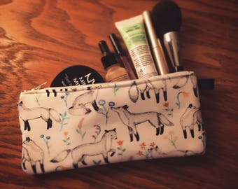 Fox and Flowers  • Pencils - Makeup - Phone whatever you want little bag • handmade in montreal
