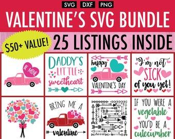 Valentine's Day SVG Bundle - 25+ Designs - Cut File/Vector, Silhouette, Cricut, SVG, PNG, Clip Art Download, Vday pack,Love, Valentine's Day