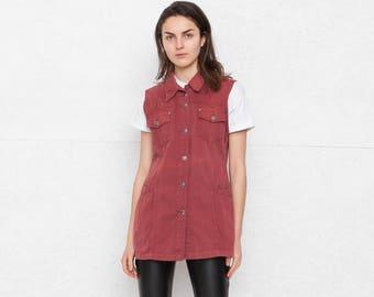 Vintage Red Denim Vest Waistcoat/ Size XL