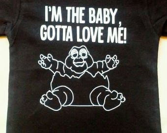 I'm the Baby, Gotta love me Infant/Children's Shirt, Dinosaur Party, Dinosaur