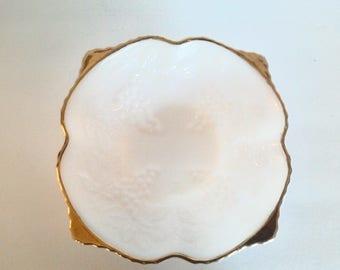 Anchor Hocking Milk Glass bowl with Gold Trim