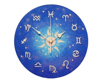 Astrology Clock Blue Wall Clock Zodiac Clock Silent Wall Clock Unique Wall Clock Zodiac Wall Decor  Glass Paiting Zodiac Art Decor