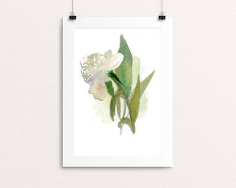 White peony unframed print with card mount and back