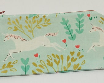 Prancing Unicorns Novelty Zipper Pouch - makeup bag; pencil case; gift for her; cosmetic bag; carry all; gadget case;