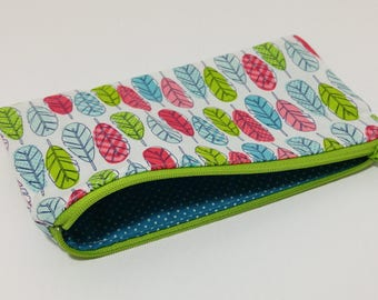 Fine Feathers Zipper Pouch - makeup bag; pencil case; gift for her; cosmetic bag; carry all; gadget case; birthday; coin purse