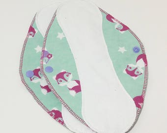 """Foxes White on Blue Reusable Pantyliner with Wings (9.5"""") - menstrual pad; panty liner; cloth pads; cotton; washable liner; flannel"""