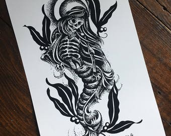 Gothic Mermaid Tattoo Flash Print