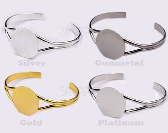 5pcs/Lot Flat Pad Bracelet Blank-Silver Adjustable Bangle-Glue on Pad Cuff-DIY Bracelet-1'' Circle Bangle Bracelet -Glue On Tray 25mm