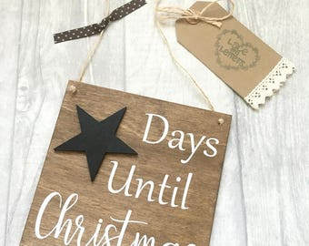 Days until christmas sign, christmas countdown, christmas decoration, rustic christmas sign, christmas chalkboard