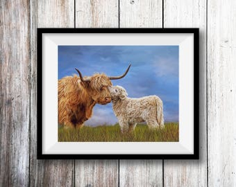 Highland Cow Print, Highland Cow, Highland Cow Art, Highland Cattle, Highland Calf, Cow& Calf (A Mothers Love)-Sells to the UK/USA