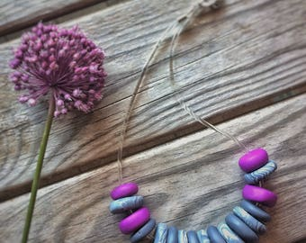 Fuchsia and grey necklace